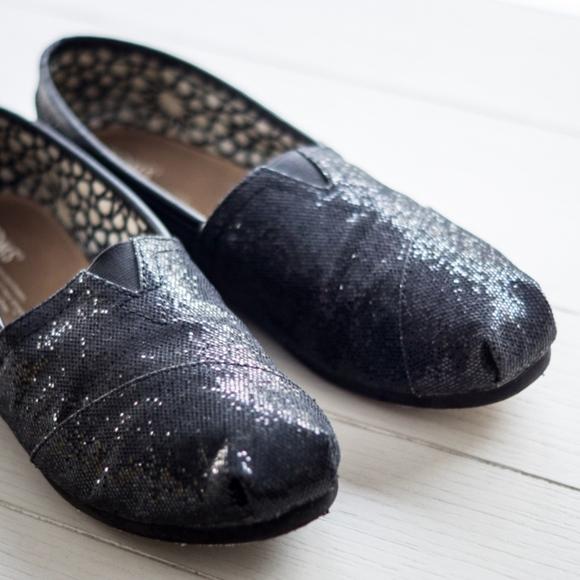 toms womens black glitter shoes